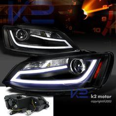 11-13 VW Jetta MK6 Euro Black Projector Headlights+LED DRL Light Bar