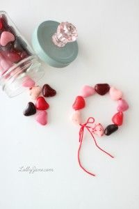 Candy Heart Bracelet - lollyjane.com.  These would be cute with regular red and pink jelly beans, too.