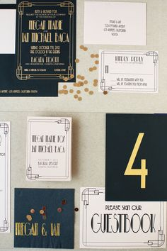 Art Deco Letterpress Wedding Invitation by Copper Willow   Photography: Diana McGregor   See more on http://www.StyleMePretty.com/little-black-book-blog/2014/01/15/copper-willow-letterpress-wedding-invitations/