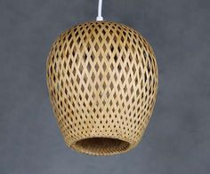 $58 Double Lamp Shade Hand Woven From Bamboo Pendant Lamp One by VIWEI