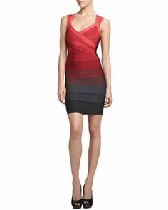 T77A3 Herve Leger Ombre Cross-Neck Bandage Dress, Red