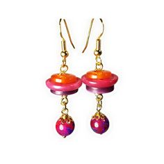 Cute Earrings, Colorful Dangle Earrings, Button Earrings, Repurposed... ($17) ❤ liked on Polyvore featuring jewelry, earrings, fish hook earrings, tri color earrings, vintage earrings, dangle earrings and orange earrings