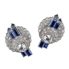 1stdibs - Art Deco Diamond Sapphire and Platinum Earrings explore items from 1,700  global dealers at 1stdibs.com