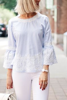 Frock Fashion, Fashion Outfits, Casual Dresses, Casual Outfits, Fancy Tops, Stylish Blouse Design, Kurti Designs Party Wear, Striped Jeans, Casual Street Style