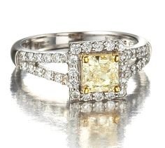 Princess Cut Yellow Diamond Halo Ring in 18k White Gold only $4,950.00 - Engagement Rings