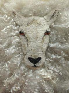 Gorgeous felting - needle and wet felted sheep face