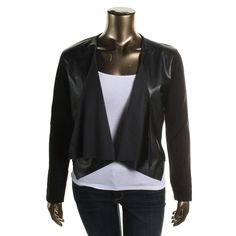 Calvin Klein Womens Faux Leather Open Front Cardigan Sweater