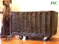 DIY wicker basket with wheels added and spray painted. Would paint like old Chinese antique--red base w/black coat lightly wiped, showing red touches under. Kids Office, Rolling Storage, Space Crafts, Craft Space, Chinese Antiques, Diy Halloween Decorations, Furniture Decor, Wicker Furniture, Storage Baskets