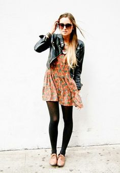 || leather jacket + patterned dress + tights + booties ||