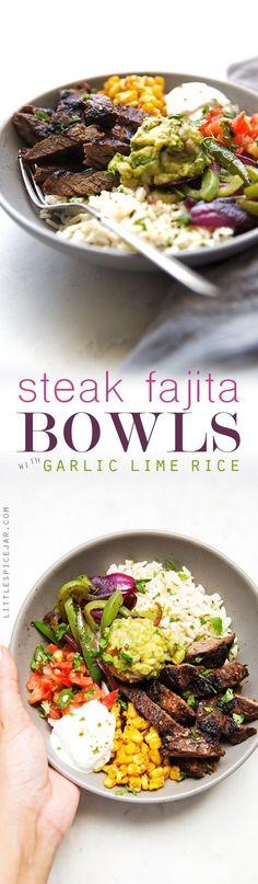 Homemade steak fajita bowls with garlic lime rice. These fajita bowls taste even…