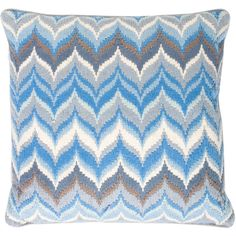 Pre-owned Jonathan Adler Embroidered Throw Pillow ($75) ❤ liked on Polyvore featuring home, home decor, throw pillows, blue, blue home decor, blue accent pillows, velvet accent pillows, blue velvet throw pillows and geometric home decor