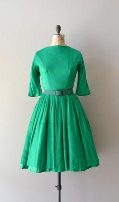 vintage 50s dress / chiffon 1950s dress / Girl Gone Green dress