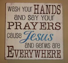 Wash Your Hands and Say Your Prayers Typography Subway by erinjt, $30.00