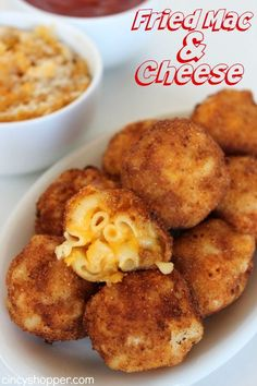 "Fried Mac & Cheese- Kiddo and adult friendly appetizer. Serve these ""bombs"" with some marinara and you will please the whole crowd. Great for using up the leftover macaroni and cheese! Food Ideas, Easy Food Ideas (finger foods for a crowd) I Love Food, Good Food, Yummy Food, Tasty, Healthy Food, Fried Mac And Cheese, Mac Cheese, Cheese Food, Mac And Cheese Bites"