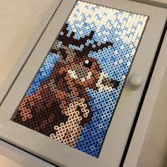 Deer perler bead art by ylestromso Fuse Beads, Hama Beads, Christmas Cross, Xmas, Peler Beads, Melting Beads, Perler Bead Art, Beaded Animals, Secret Life