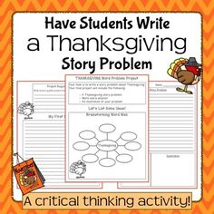 Thanksgiving Story Problem Writing Project for Elementary or Middle School