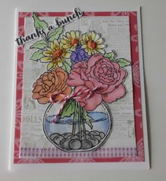 Thanks a Bunch Stampendous Bowl Bouquet Thank You by WriteCards