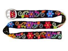 Embroidered belt Black, Brights On colorful, handmade belt, floral belts, colorful belts, accesories woman, wool belts