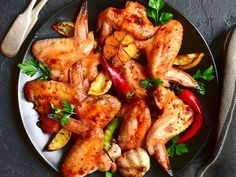 poulet, vin blanc sec, huile, ail, poivre, sel Regional, Chicken Wings, Food, Sauces, Inspiration, Meat, Skewers, Cooking Food, Dry White Wine