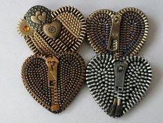 Zipper Brooch by ZipperedHeart on Etsy, Zipper Bracelet, Zipper Jewelry, Fabric Jewelry, Beaded Jewelry, Handmade Jewelry, Bullet Jewelry, Gothic Jewelry, Jewelry Necklaces, Zipper Flowers