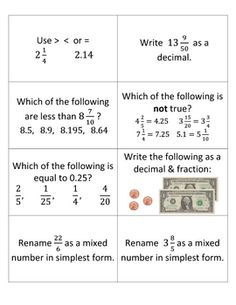 Fractions & Decimals Review Game ~ Questions include comparing and ordering fractions and decimals, converting mixed numbers to improper fractions, and reducing fractions to simplest form. Math Math, Guided Math, Math Teacher, Math Classroom, Fun Math, Math Activities, Ordering Fractions, Teaching Fractions, Teaching Math