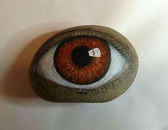 Original Painting Outsider Art Primitive Stone Folk Kaveman Hamsa Eye Rock Me . Pebble Painting, Pebble Art, Stone Painting, Painting Art, Stone Crafts, Rock Crafts, Outsider Art, Pierre Decorative, Rock And Pebbles