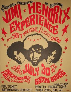 An original printer's proof of a concert poster for Jimi Hendrix Experience and Soft Machine Light Show at Independence Hall, Baton Rouge, Louisiana on July 30, 1968 - by Rock Legends LTD