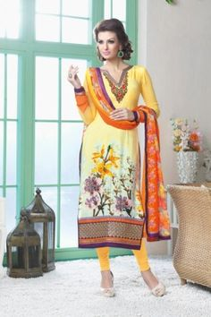 FABULOUS AND INCREDIBLE FRENCH CREPE STRAIGHT CUT SUIT WITH PRINTED GEORGETTE DUPATTA FIVS-5603
