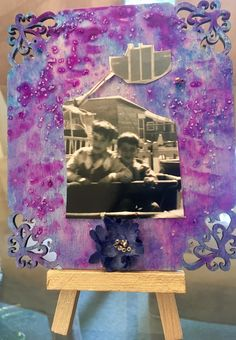 Vintage photo on hand-painted wood. Mini frame with easel