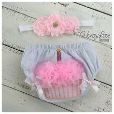 Cupcake Bloomers, Diaper Cover, pink flower rhinestone white headband - baby girl infant toddler - First Birthday, 1st Birthday, cake smash by HoneyLoveBoutique