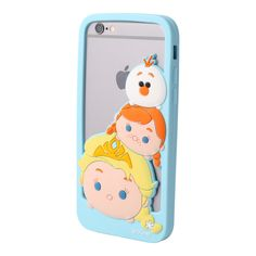 This soft and flexible silicone bumper phone case features Elsa, Anna, and Olaf stacked on each other in classic Tsum Tsum style. Available for iPhone 5 and iPhone 6.