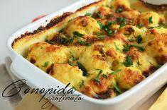 Conopida gratinata Romanian Food, Some Recipe, Quiche, Cauliflower, Foodies, Food And Drink, Vegetarian, Tasty, Vegetables
