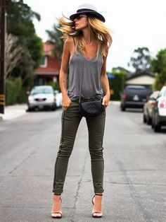 Not so much the no bra look, but I like this tank and army green skinnies