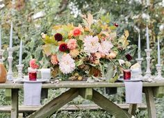 Thanksgiving floral centerpiece by Poppies and Posies   Photo by Jen Huang for Camille Styles