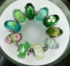 10 Authentic Pandora 925 ale silver beads charm glass murano  glass green