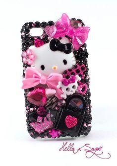 Hello KittyQueen of Punk  Decoden Iphone 4/4S Case  by HELLOxSUGAR, $55.00