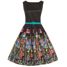 'Audrey' Black Tokyo Print Swing Dress  Beautiful shiny dress fabric for both fun and formal events :) With Shibuya/Akihabara/Ginza typical neon ads as print.