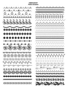 Adobe Illustrator Fashion Brushes - Embroidery brushes, embroidered trim - 650+ fashion brushes for only $24.95 #embroidery #illustratorbrushes #fashiondesign