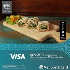 Enjoy an evening of pure indulgence at Circa 1900!  Dine with your Metrobank Visa and enjoy 30% OFF their five course meal!  Promo available until November 30, 2016. Terms and conditions apply.  For more promo deals, VISIT http://mypromo.com.ph/! SUBSCRIPTION IS FREE! Please SHARE MyPromo Online Page to your friends to enjoy promo deals!