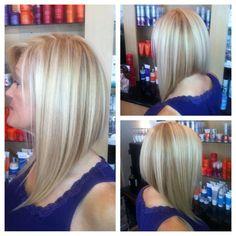 Beautiful blonde A-Line Bob by Jessica Case   nubenovesalon.com