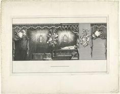 Jan Punt | Rechterzijde van de zaal met het praalbed van prins Willem IV, 1751, Jan Punt, Pieter de Swart, 1752 | Rechterzijde van de zaal met het praalbed met het lichaam van prins Willem IV. Onderdeel van de serie van vier platen van het praalbed waarop de op 22 oktober overleden prins Willem IV gedurende de maanden november en december van het jaar 1751 opgebaard heeft gelegen.