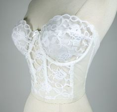 7a35facb8ac8e 1980s white long line bra strapless lace low by DottieMaeVintage Low Back  Corset