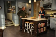 Last Man Standing Living Room Love The Blue Couch With Tan Chairs A New House Is Only A