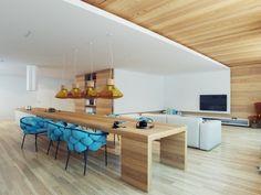 Holzverkleidete Innenwände-Pendelleuchten gelbes Glas-Kochinsel mit Abzugshaube