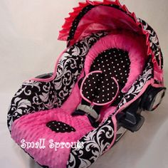 Black Floral Damask with Hot Pink  Minky Dot Orbit  Infant Car Seat Cover-Ready To ship