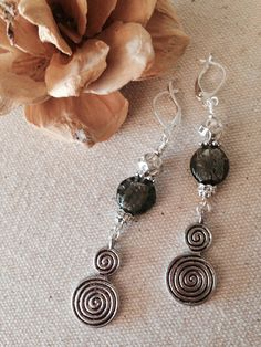 Charcoal Touched By Deep Green Glass & Pewter Beaded Dangle Earrings