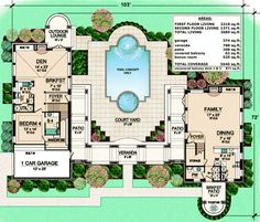The Holstein contemporary house plan is centered around a amazing courtyard. This luxury house plan also includes a beautiful breakfast patio with a fountain Unique House Plans, Contemporary House Plans, Luxury House Plans, Luxury Houses, Courtyard House Plans, House Floor Plans, Custom Home Plans, Villa, Thing 1