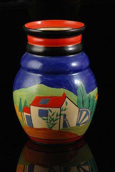 Andrew Muir   Clarice Cliff, Art Deco Pottery, Moorcroft and 20th Century Ceramics Dealerclarice cliff APPLIQUE LUGANO 358 VASE C.1930