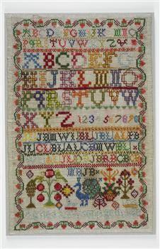 Cross-stitch alphabet sampler worked by Elizabeth Laidman, 1760.