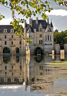 CHATEAU DE LA RENAISSANCE Château de Chenonceau - Loire Valley, France : Built on the site of an old mill on the River Cher, sometime before its first mention in writing in the century Places Around The World, Oh The Places You'll Go, Places To Travel, Places To Visit, Around The Worlds, Beautiful Castles, Beautiful Buildings, Beautiful World, Beautiful Places